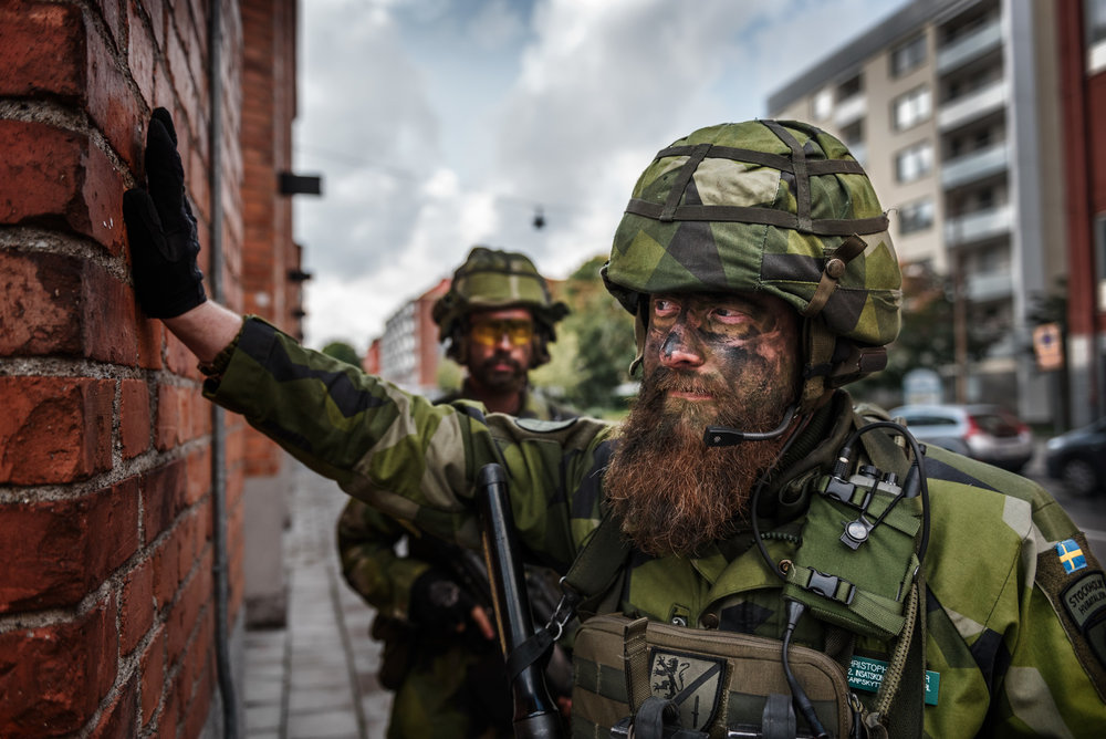 Soldier during exercise in Stockholm