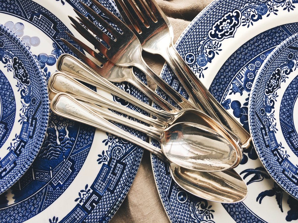 """churchill of england china, engraved """"S"""" flatwear."""