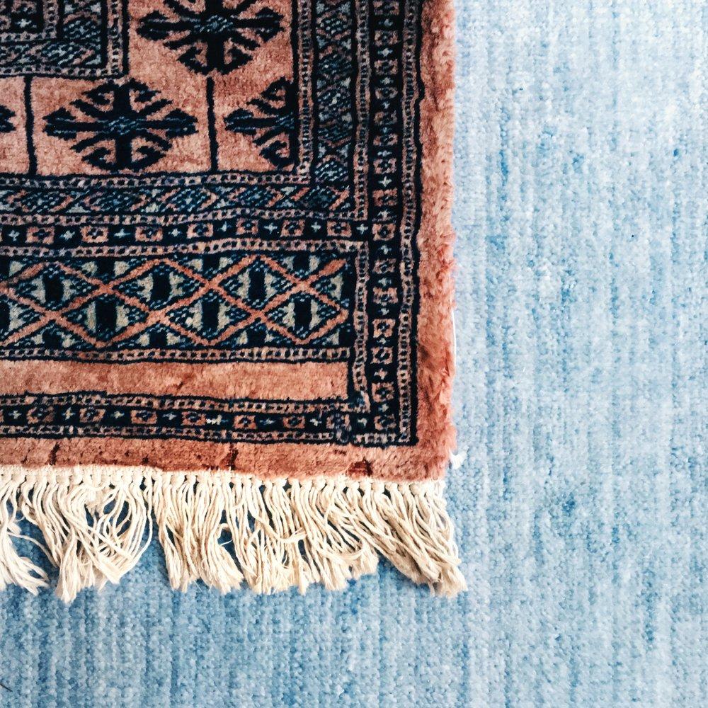 pakistani pink and navy rug,adaptations.