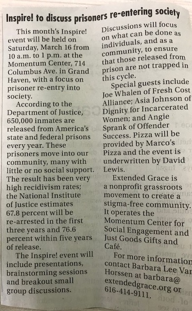 Inspire! to discuss prisoners re-entering society