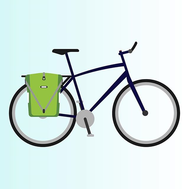I've spent a lot of time on my bike this summer, it's surprising how easily I fall out of it over the winter though. Hopefully my fancy new pannier should keep me riding through some of the rain. #bike #cycling #ortlieb #jamis #bicycle #bicyclelife #illustrator #illustration #adobeillustrator #adobe #simple #gradient #bag #green #vector #vectorart