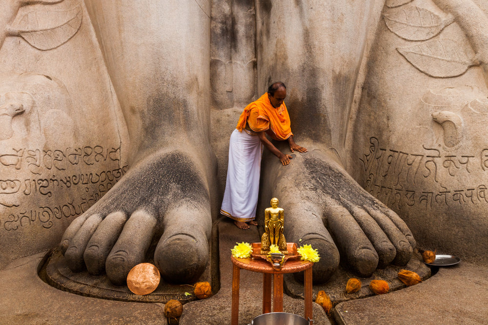 Priest at Gommateshwara Statue at Shravanabelagola, Karnataka, India