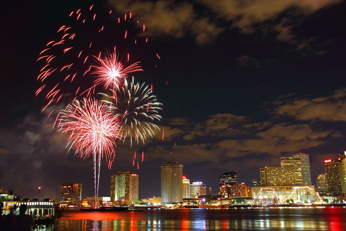 Fireworks over New Orleans. Photo via neworleanslocal.com