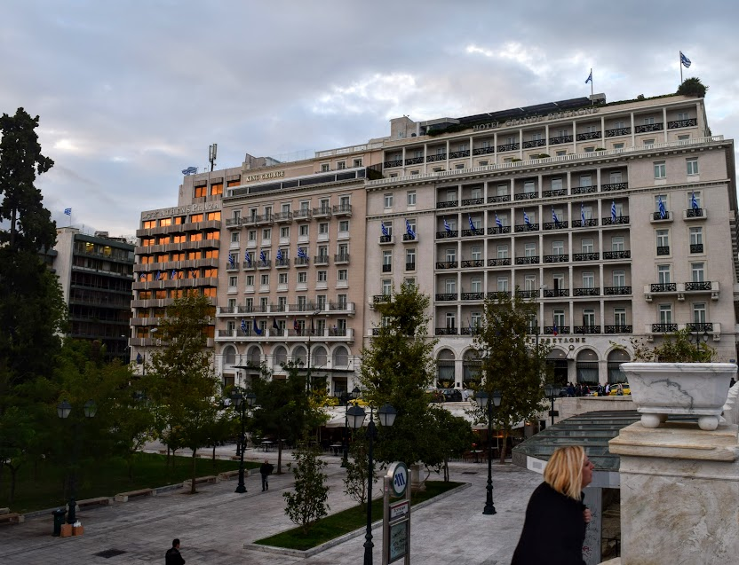 Square in front of NJV Hotel in Athens, Greece.JPG