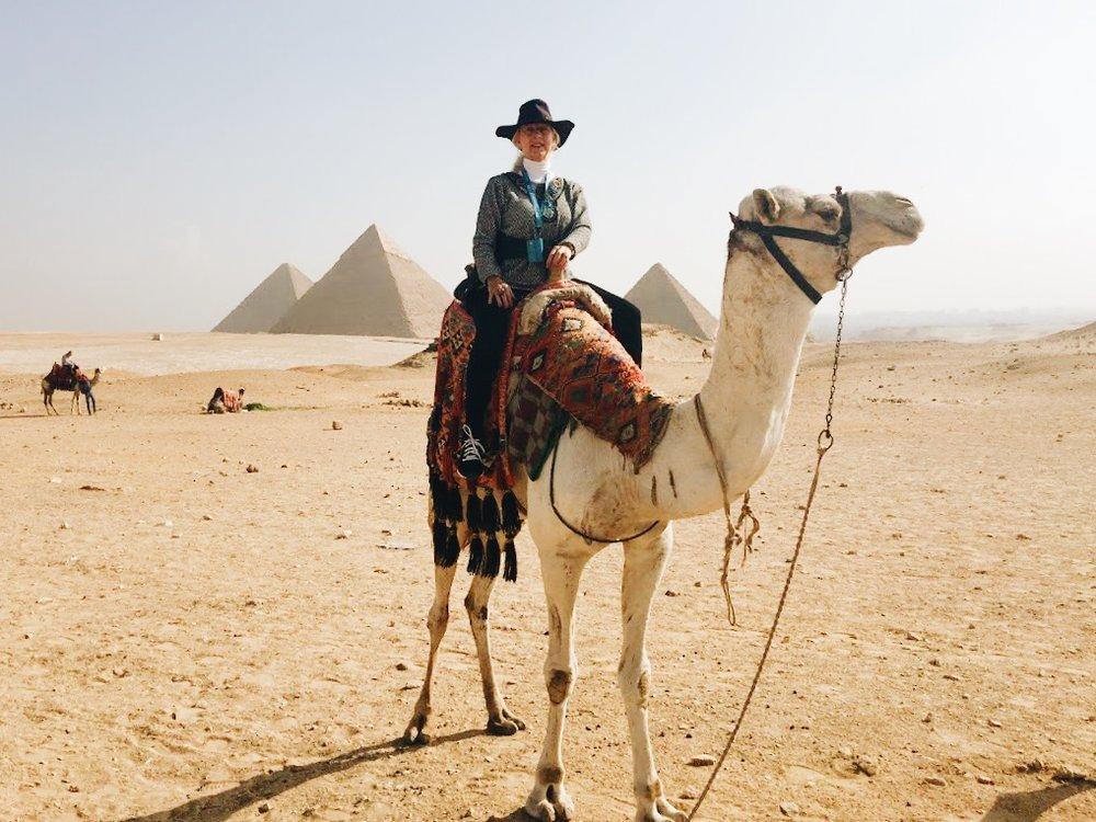 Camel riding in the Egyptian desert