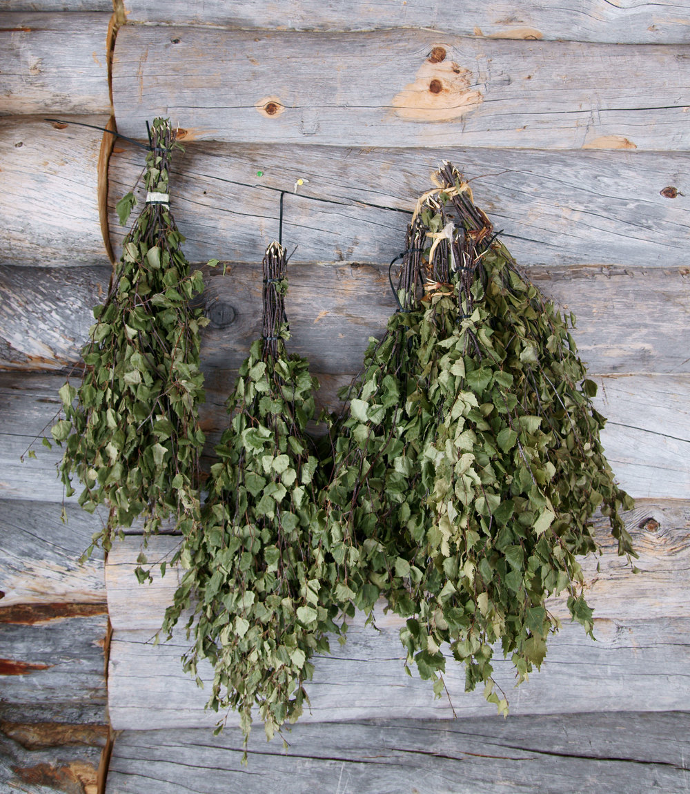 Finnish birch veniks. Photo by  kallerna  via  Wikipedia.
