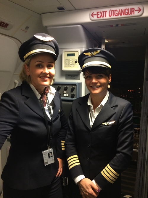 Two lovely lady pilots on Astrid's Iceland Air flight
