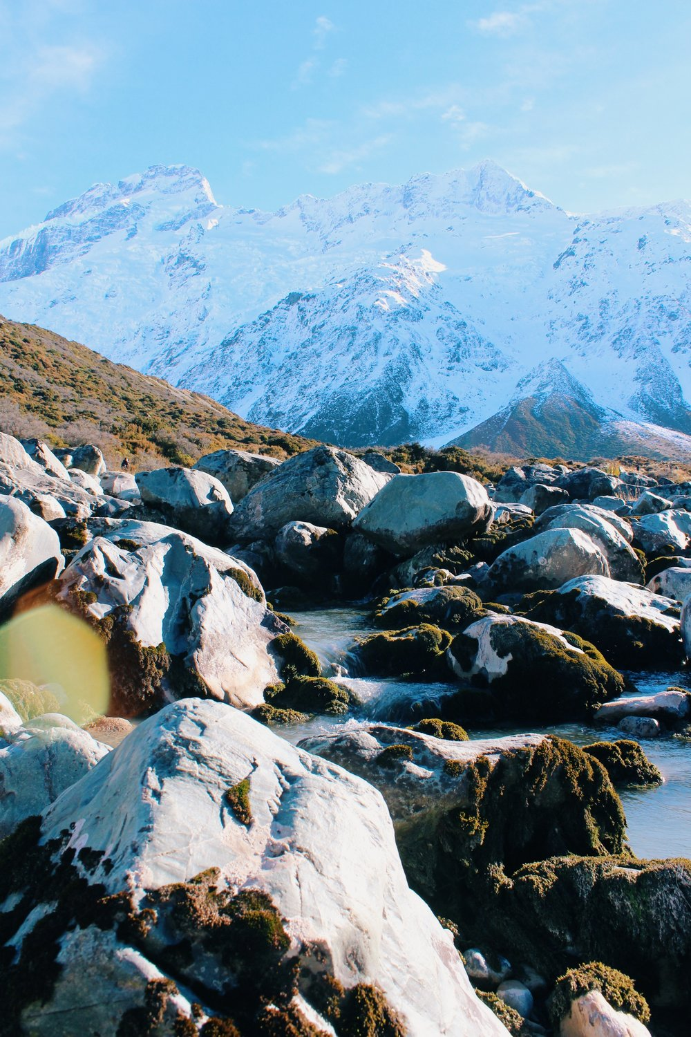A snapshot from the wildly popular Hooker Valley Track in Aoraki/ Mount Cook National Park