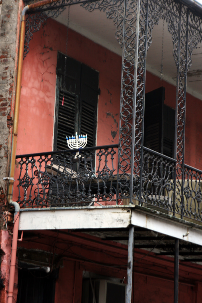Menorah on French Quarter Balcony.  Photo  by  Quinn Dombrowski  via flickr.