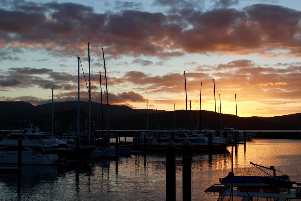 One of the few slow moments I experienced in Airlie Beach: sunset at the marina