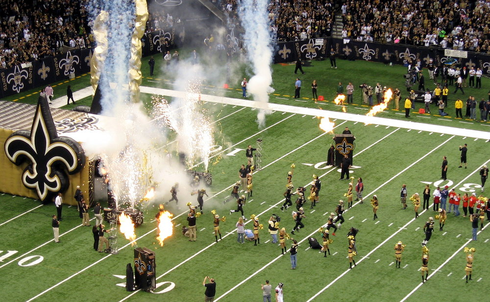New Orleans Saints running into the Superdome.  Photo  by  Todd Martin  via flickr.