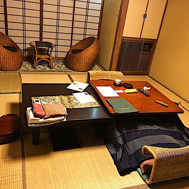 """Getting ready to have my dinner served while seated on the floor in the living area of the """"authentic"""" Japanese ryokan in Hakone where I'm staying. A new travel experience!!"""
