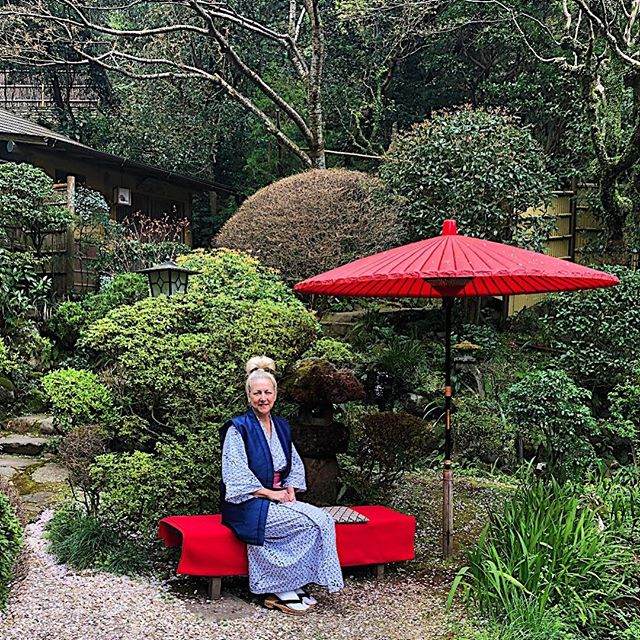 """Survived the night on the floor in the futon, """"one time is enough"""" fir that travel experience. Headed for breakfast decked out in the complimentary Japanese Yubataki-dori, socks & sandals."""