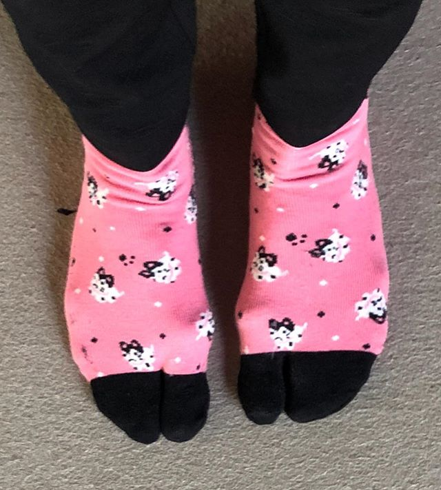 """Broke down & bought some """"tabi"""" split toe socks that are loved by the Japanese."""