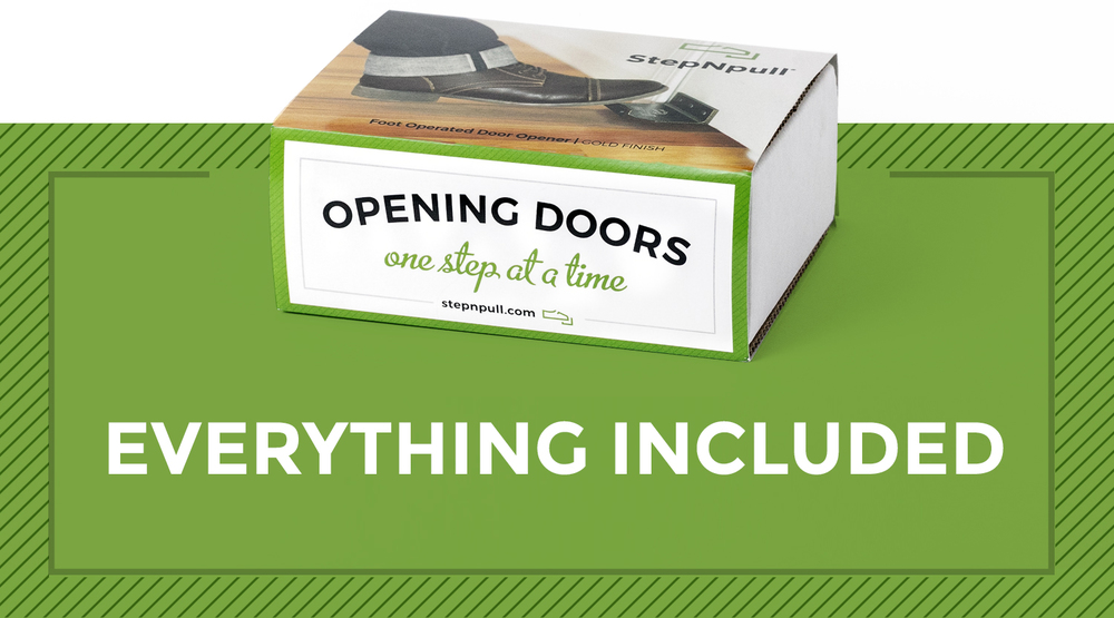 StepNpull Foot Operated Door Opener come with everything you need