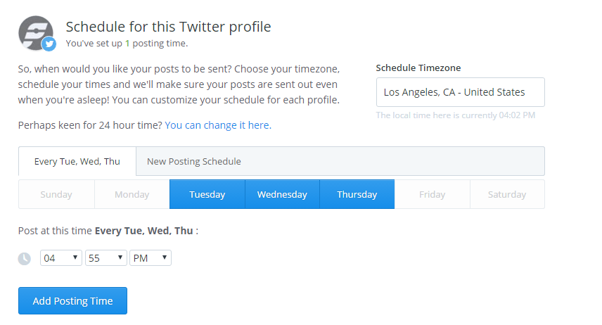 A screenshot of Buffer's Tweet Schedule feature