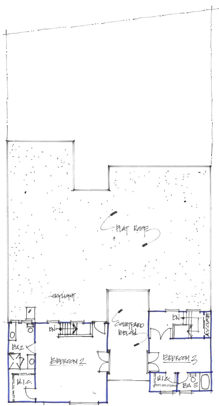 Sketch of Second Floor Plan and Low Roof