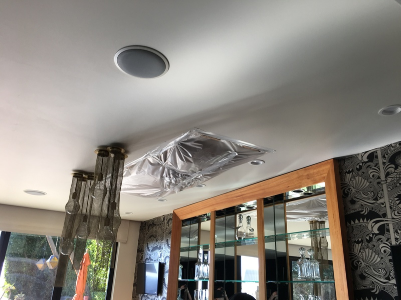 Bar Area with Ceiling Leak from Roof
