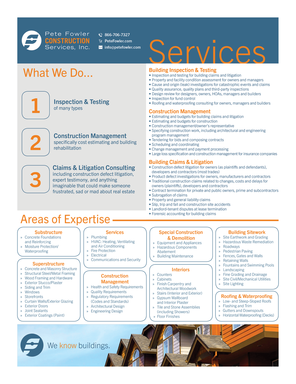 Need a quick glance at all the services we offer?  Download and print  our one-page PDF.