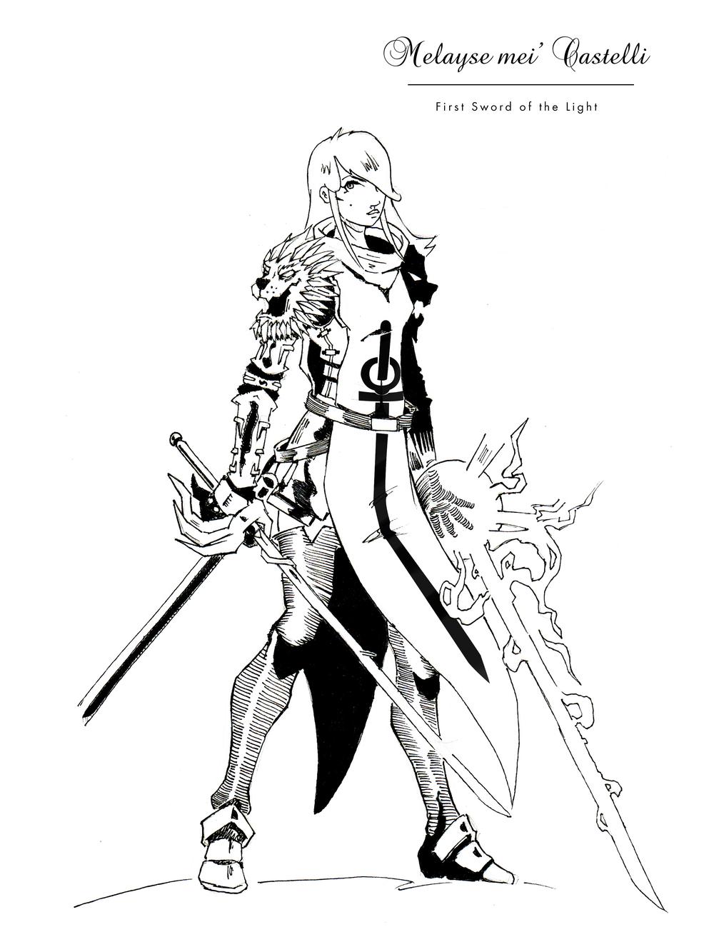 Melayse mei'Castelli con l'ala bianca, Character Concept. (Gyasshara, Mondo Fantasy)