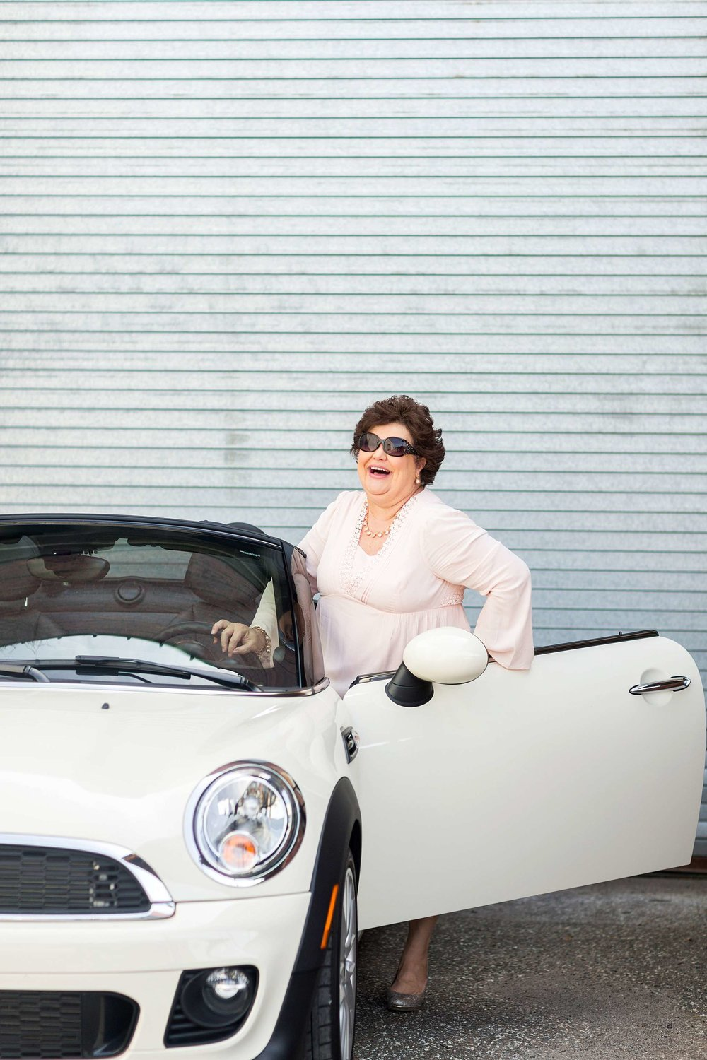 How adorable is Tanya in her Mini Cooper in this photo taken by Bri of Bri Cibene Photography!