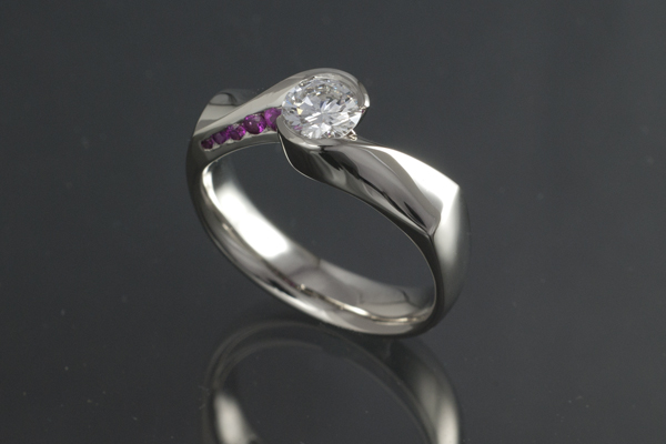 WEB-Weddings-Engagement-Round Diamond with Pink Sapphires-18k White Gold-2012-Image 5653.jpg