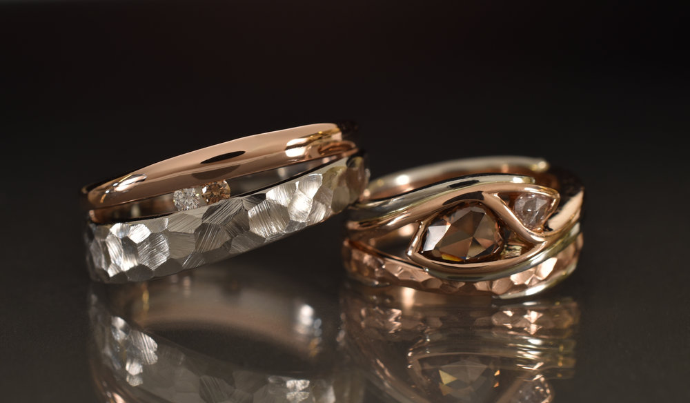 14k Rose Gold and Platinum wedding band set, with faceted effect.