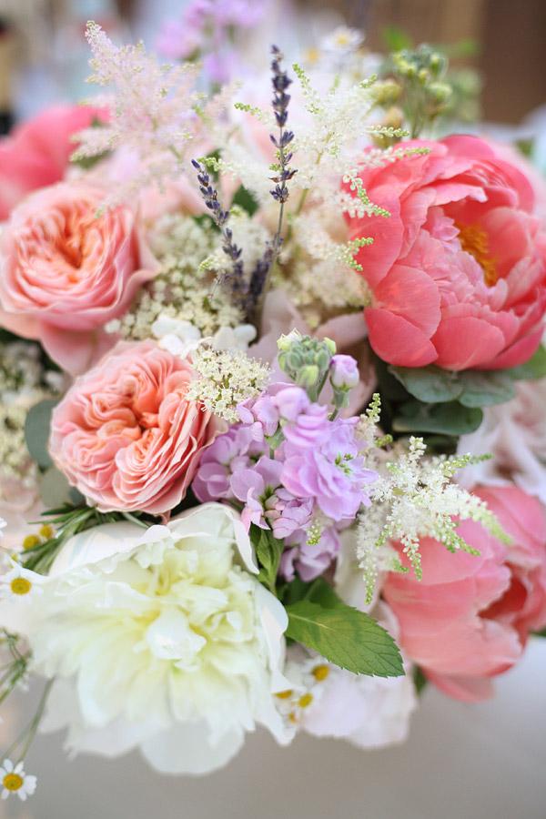 coral peonies wedding bouquet