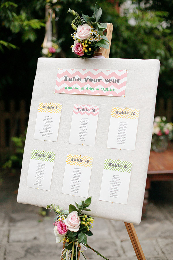 chevron wedding seating plan