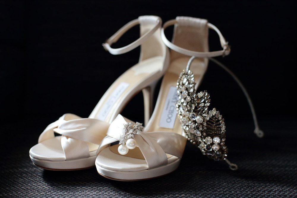white Jimmy Choo wedding shoes photo