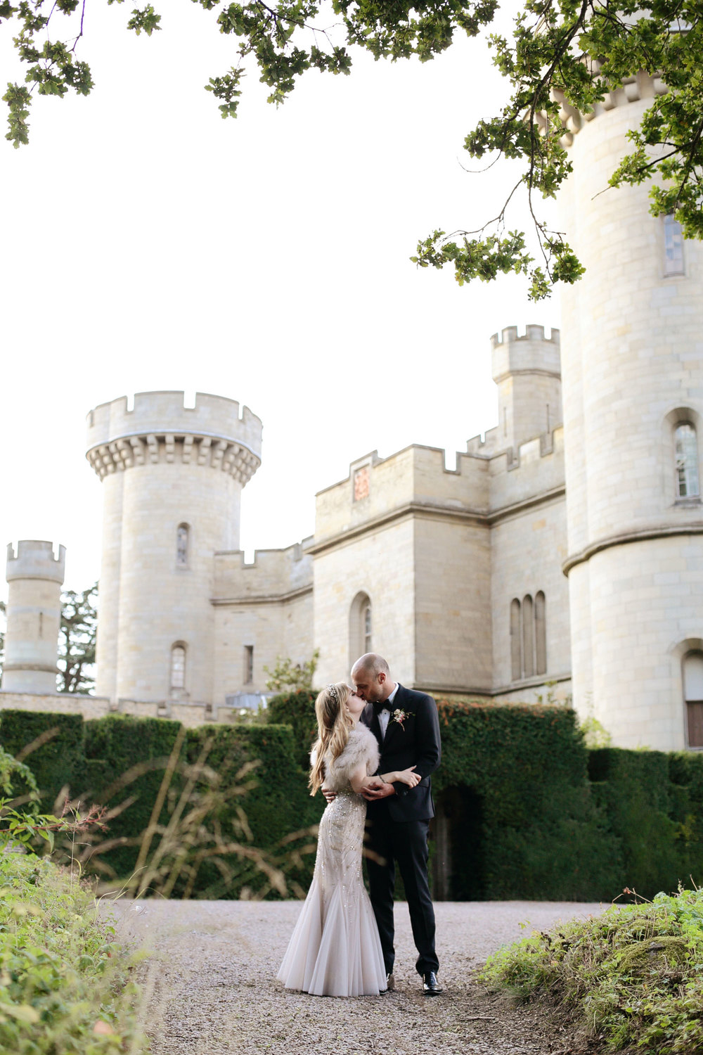 Eastnor Castle wedding bride and groom portrait