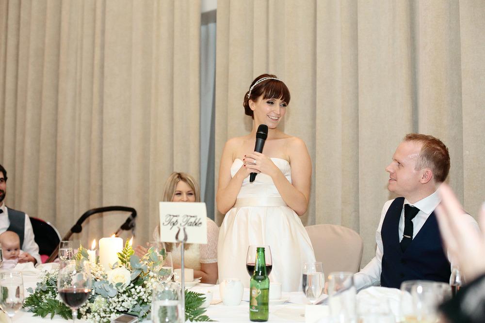 bride's wedding speech photo at Castlemartyr Cork