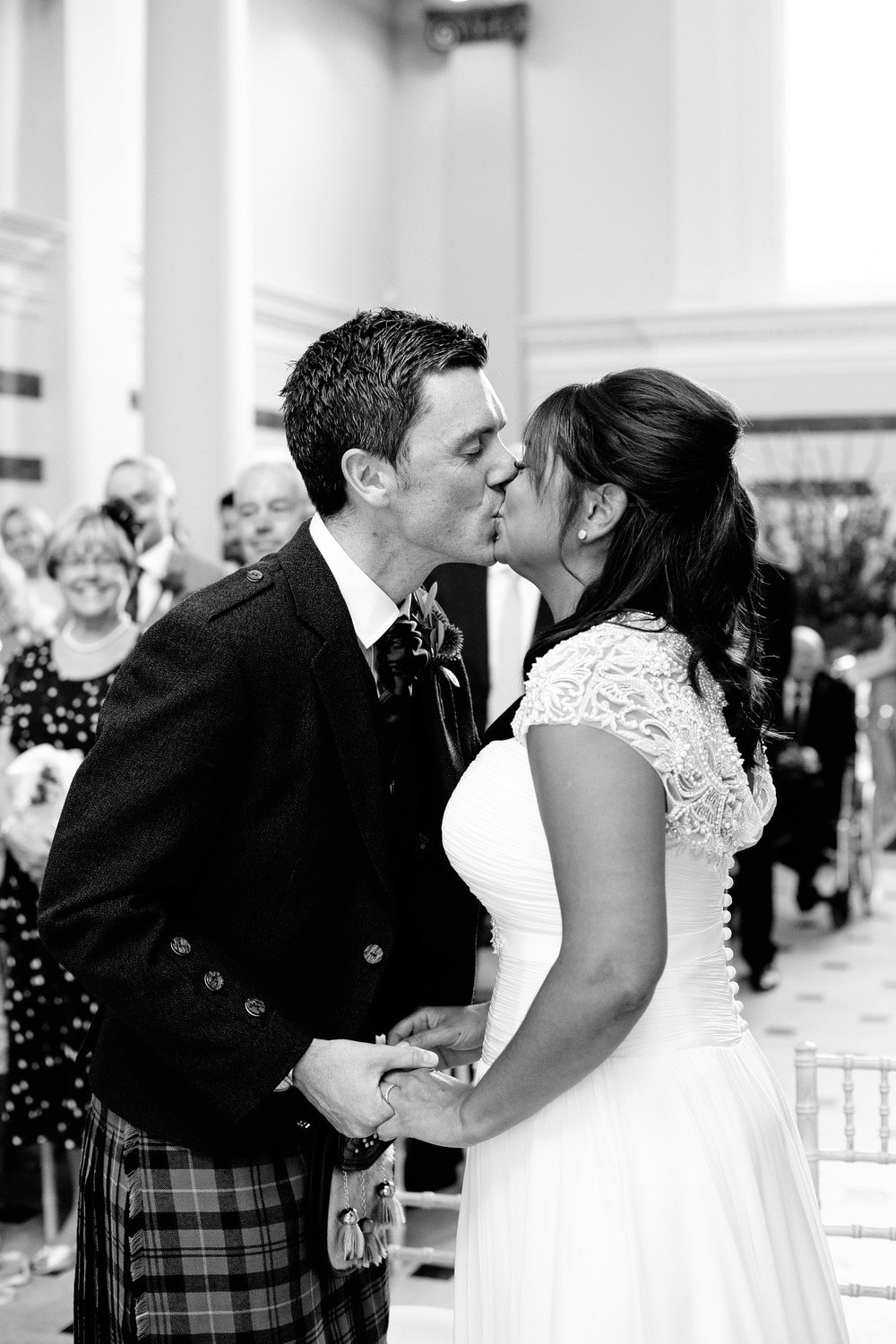 bride and groom first kiss photo Sunbeam Studios London