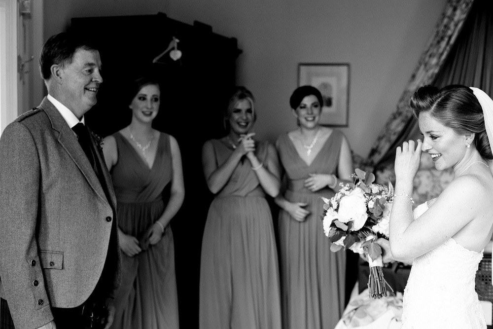 Father sees bride, Scotland wedding photographer