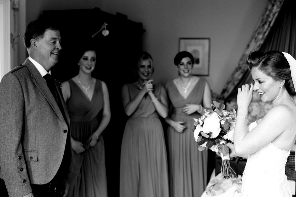Father sees bride, Scotland wedding photographer