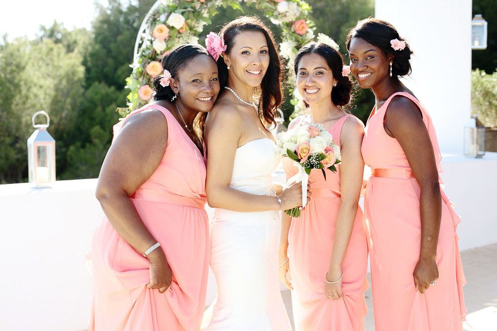 Bridesmaids in coral dresses Ibiza
