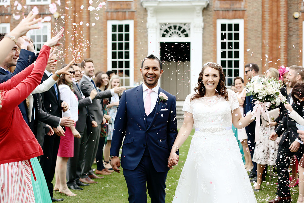 Bradbourne House wedding confetti photo