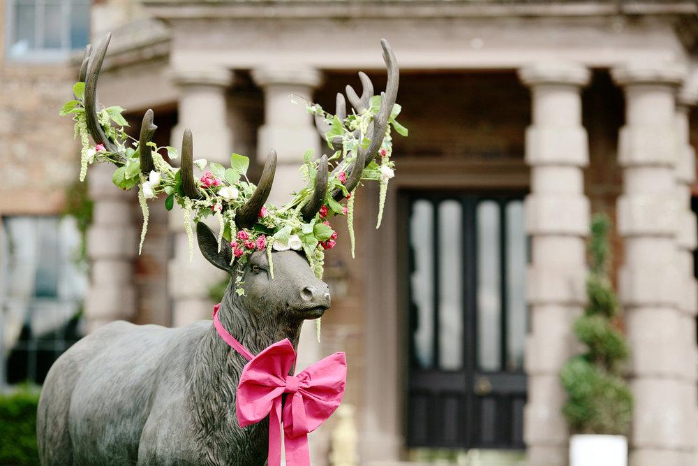 Flower stag at Scotland wedding