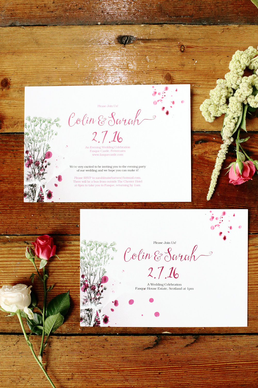 Fasque House colour wedding invitations