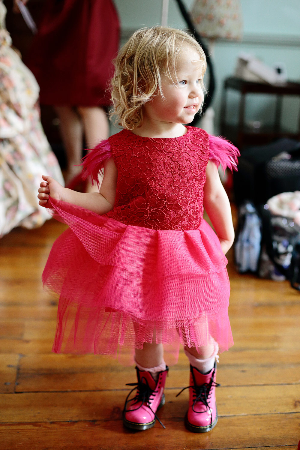 rock and roll pink flower girl dress