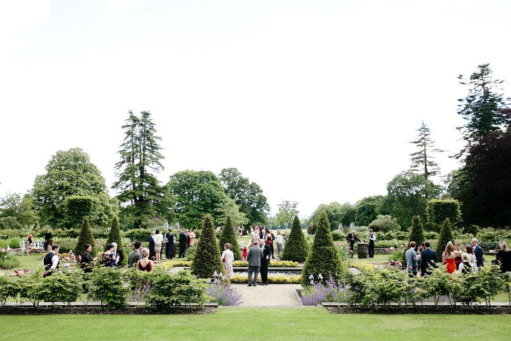 Fasque House garden wedding reception photo