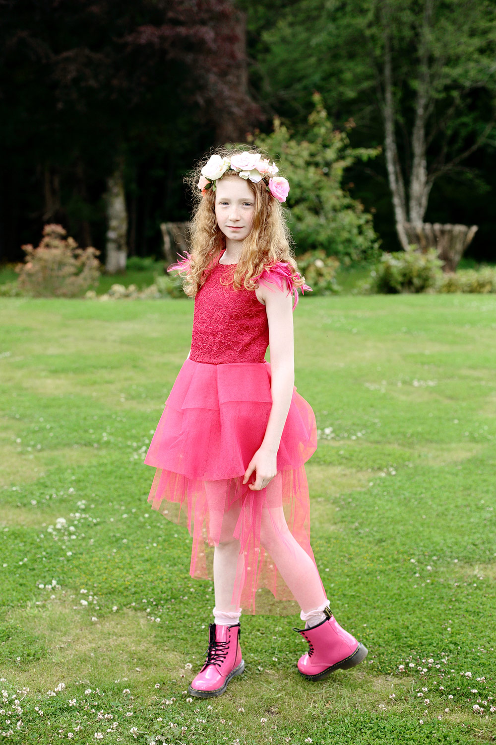 flower girl wearing doctor martins photo