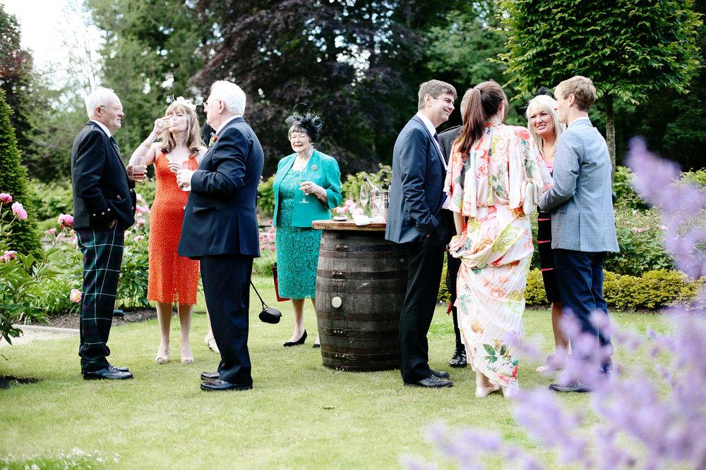 Outdoor wedding reception in Scotland castle photo