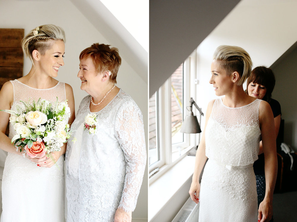 lesbian wedding bride with mum photo