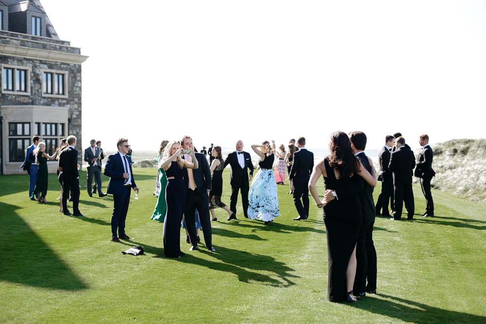 wedding guests outside trump international doonbeg ireland