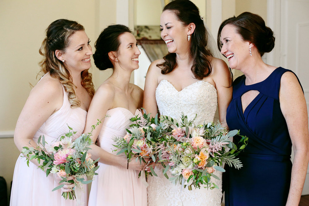 bride with bridesmaids at chateau lagorce bordeaux