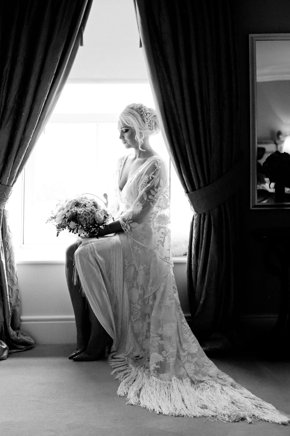 bride window portrait at ballymagarvey village meath