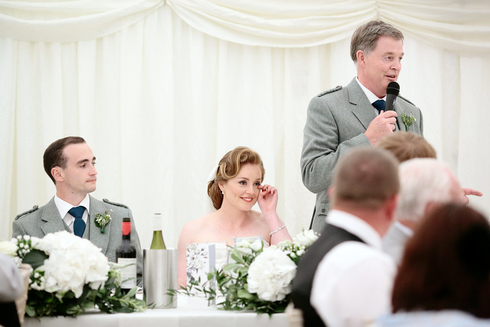 emotional wedding speech at Hillhouse in Glasgow