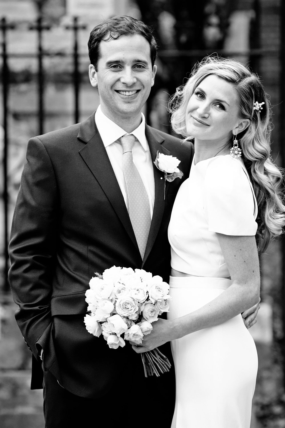 classic black and white bride and groom portrait Loft Studios London