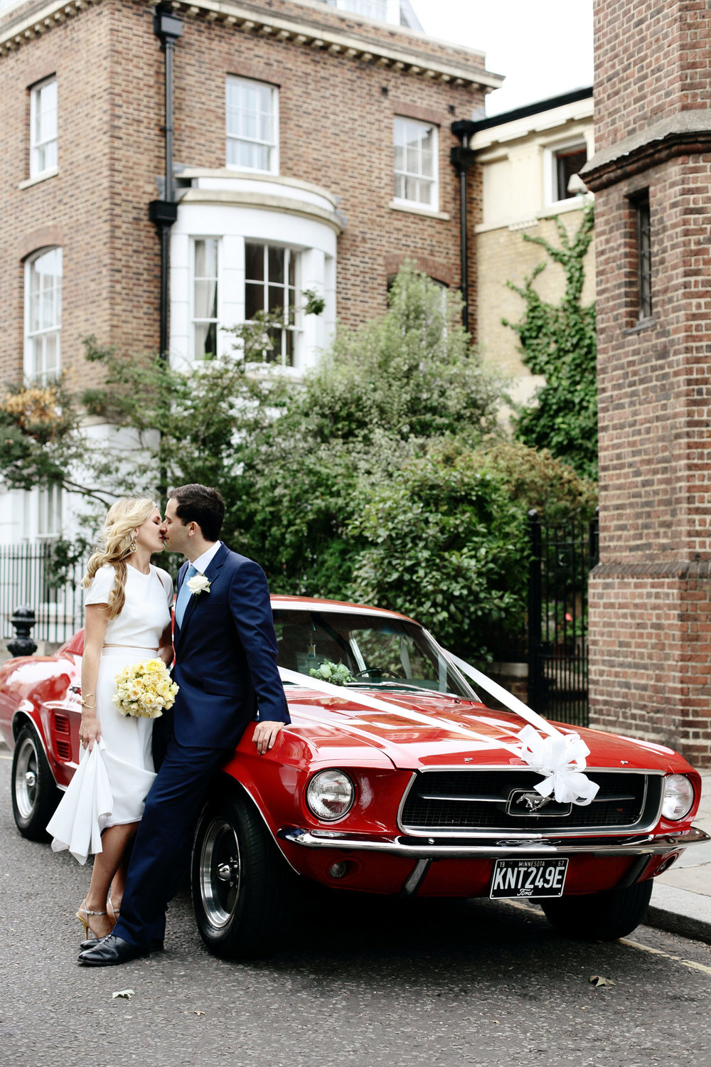 red vintage mustang wedding car London